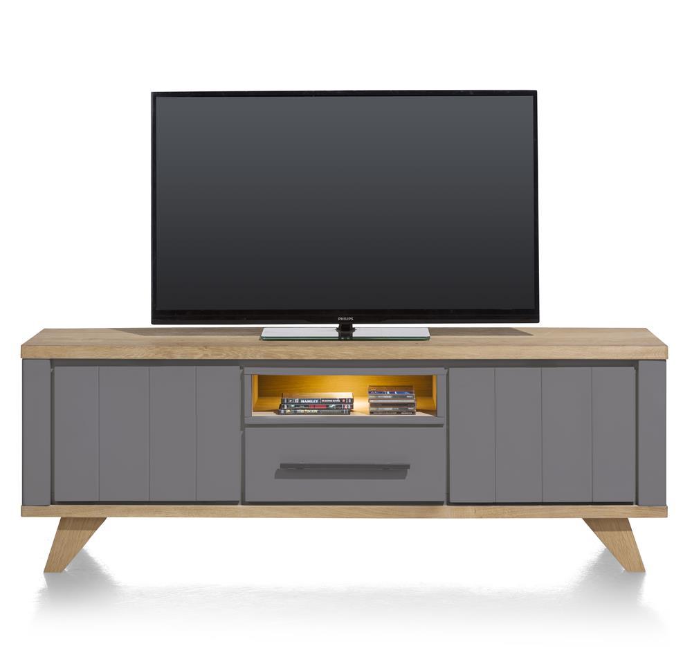 Meuble TV 170cm bois et anthracite