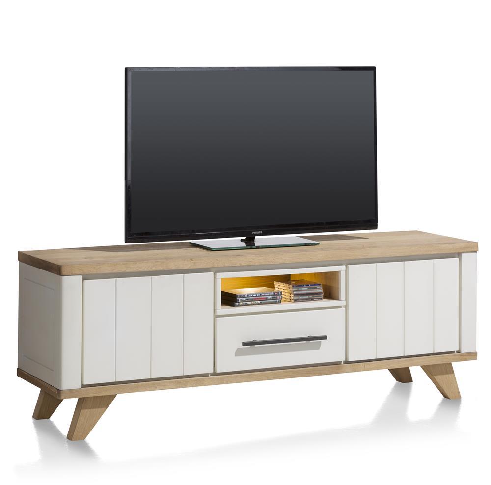 Meuble TV 170cm bois et blanc