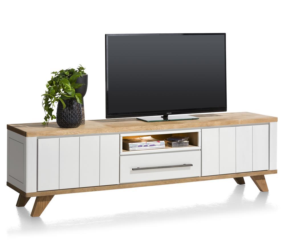 Meuble TV 210cm bois et blanc