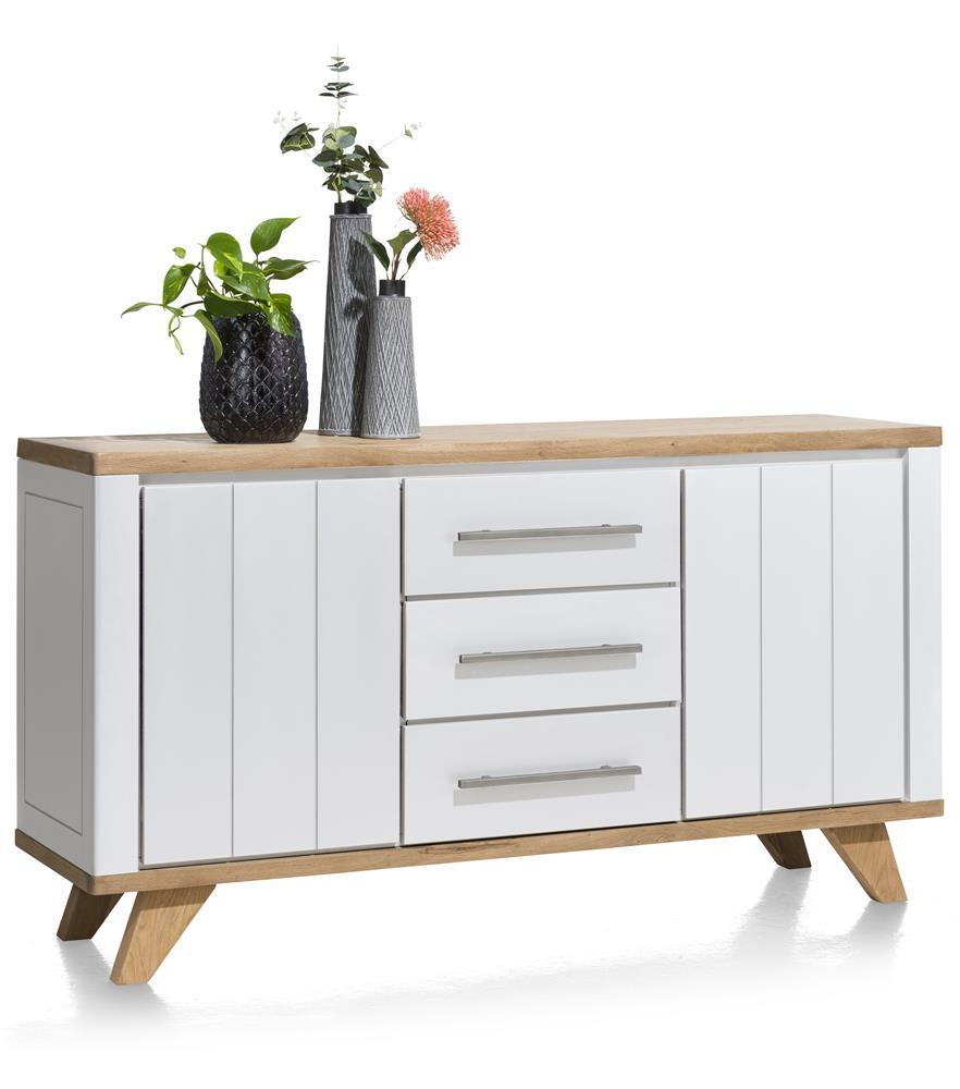 Buffet 160cm blanc et bois