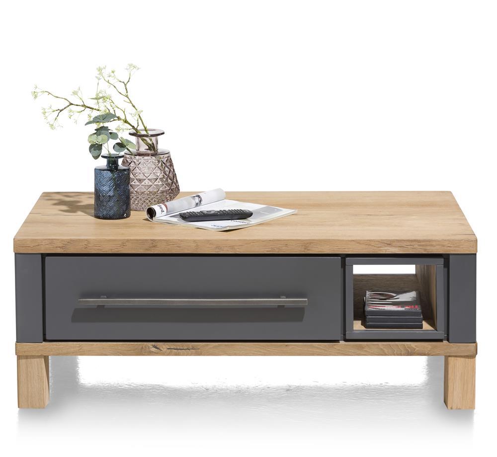 Table basse sur roulettes anthracite et bois