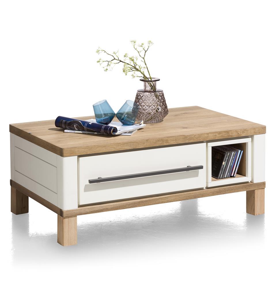 Table basse sur roulettes blanc et bois