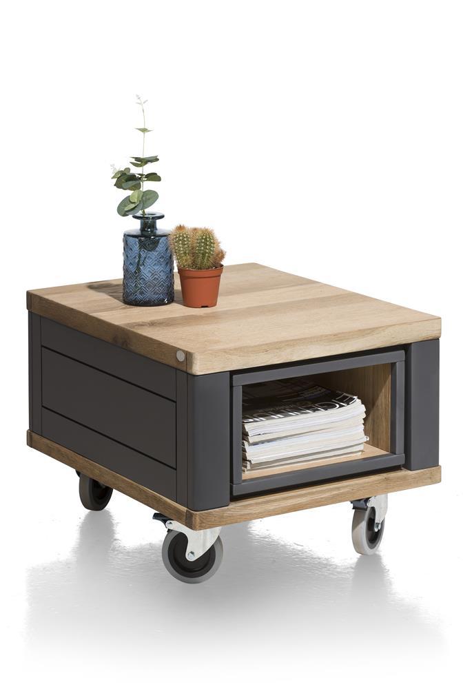 Table d'appoint sur roulettes bois et anthracite