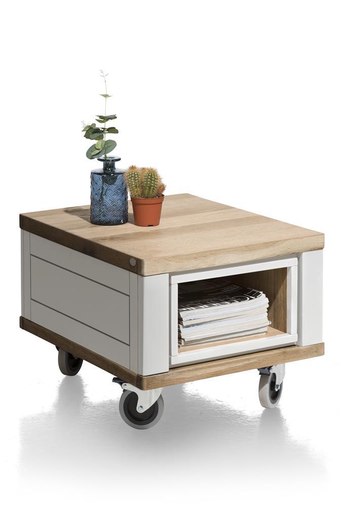 Table d'appoint sur roulettes bois et blanc