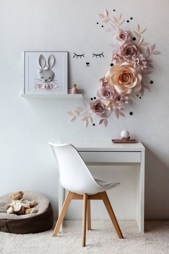 fleurs murales en papier