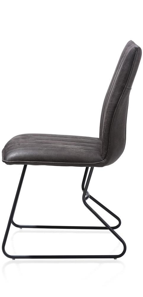 Chaise anthracite piétement noir