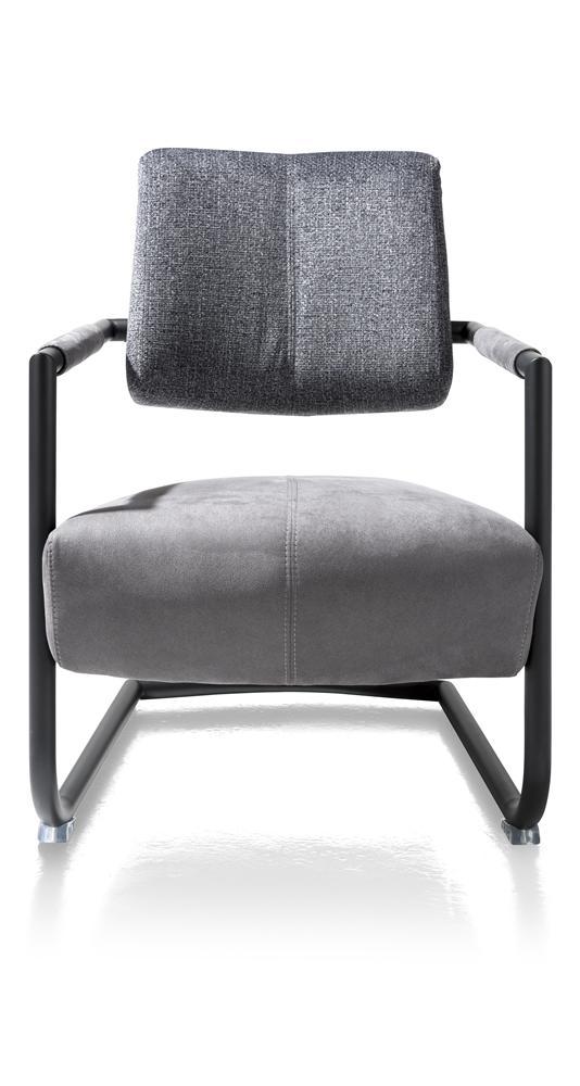 Fauteuil design gris pied traîneau noir