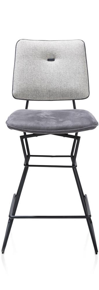 Chaise de bar bi-matière grise pieds noirs