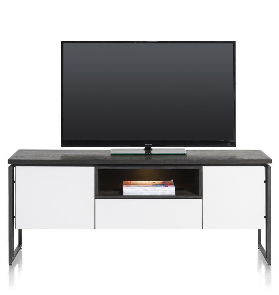 Meuble TV blanc et noir avec LED