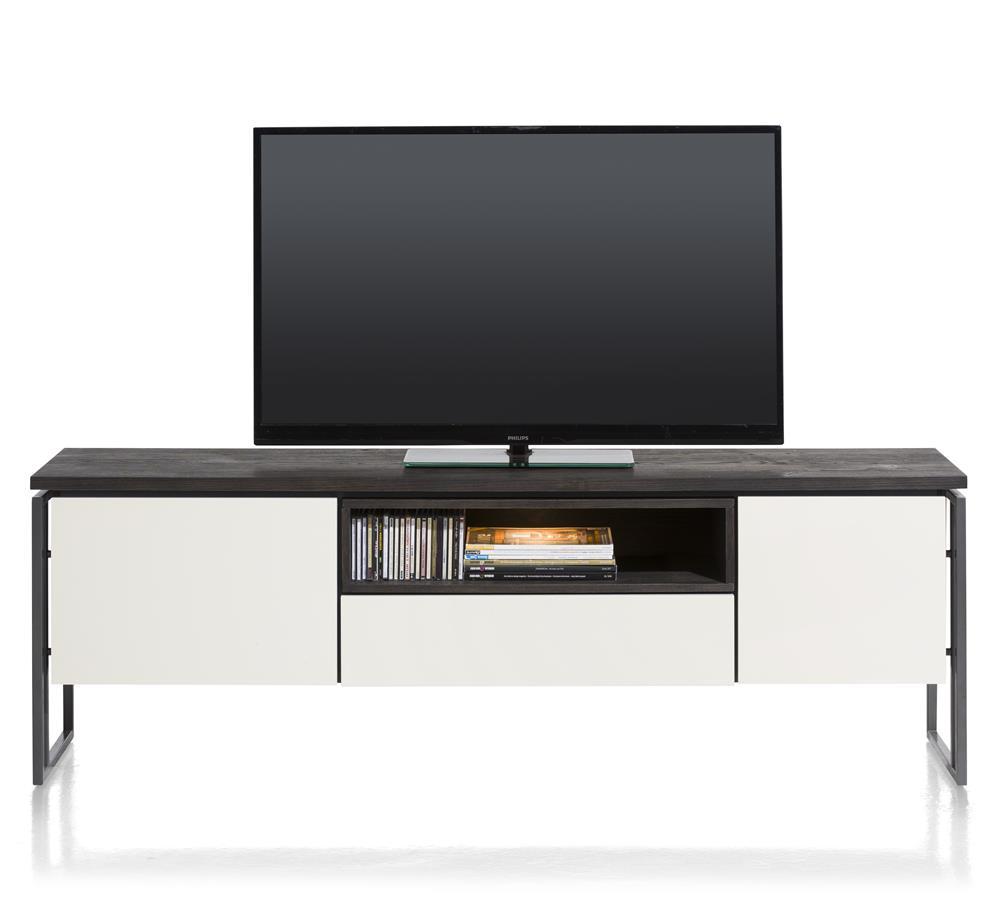 Meuble TV noir et blanc avec LED