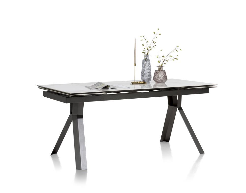 Table de repas à rallonges intégrées plateau effet marbre pieds noirs