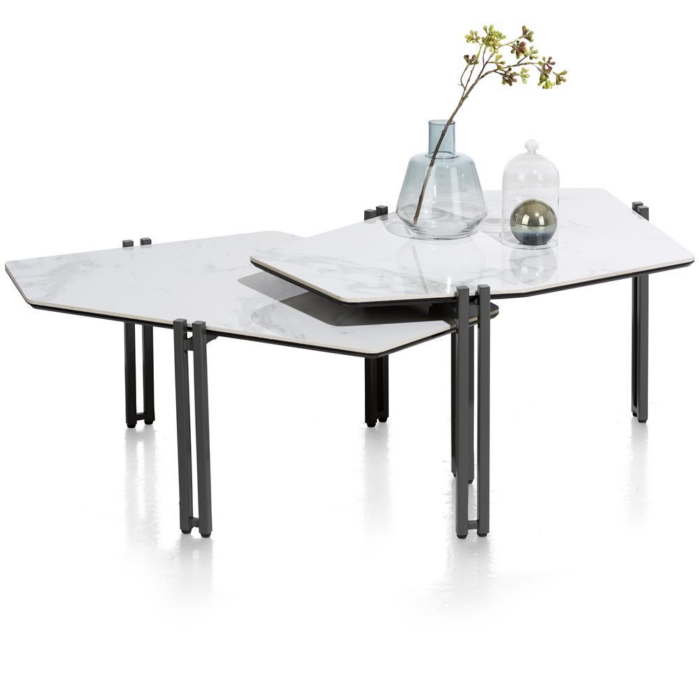 Double table basse pieds noirs plateau céramique effet marbre
