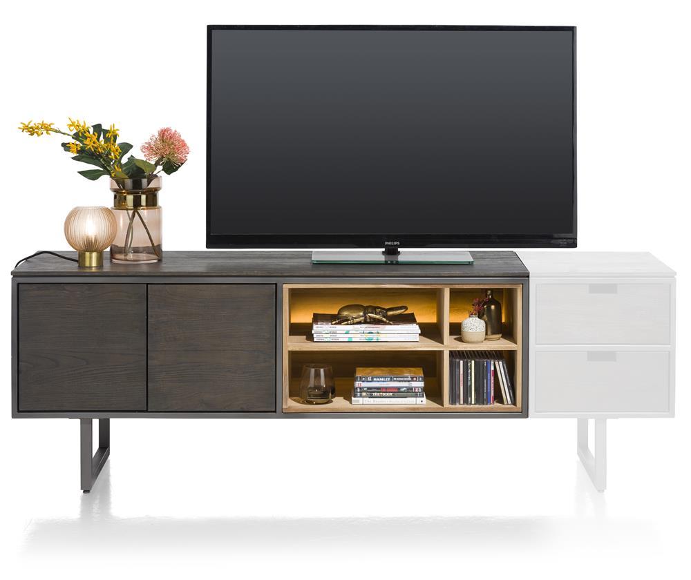 Meuble TV en bois noir avec éclairage LED