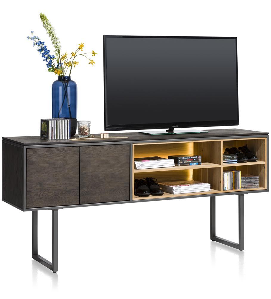 Meuble TV bois noir avec éclairage LED