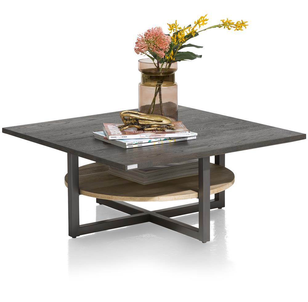 Table basse en métal et bois noir et naturel