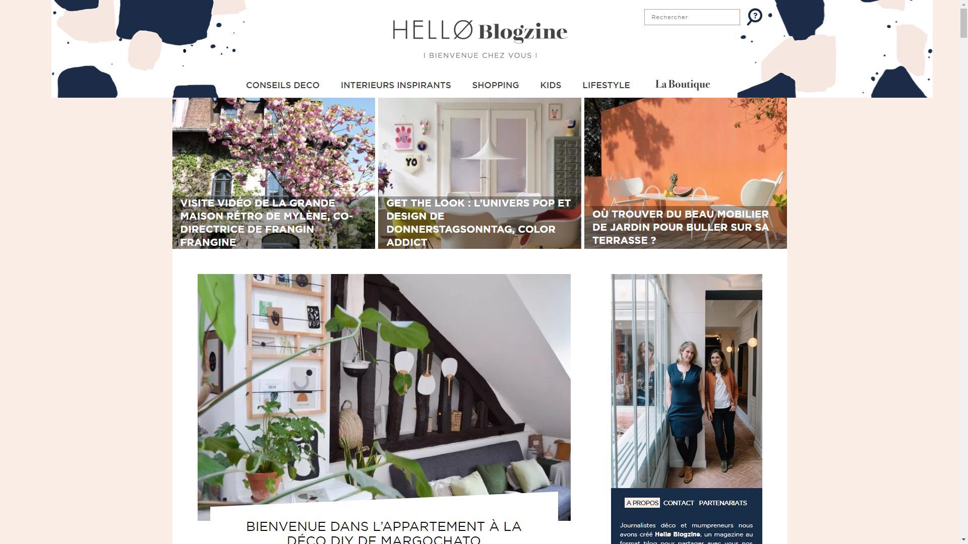 Page d'accueil du blog déco Hello Blogzine
