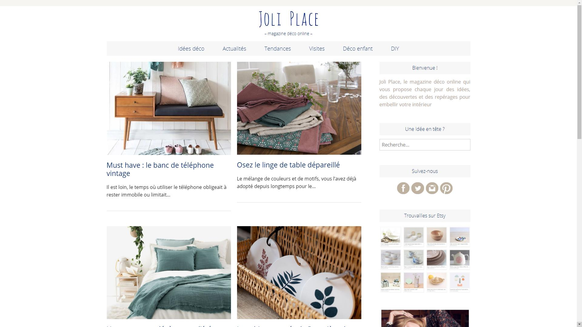 Page d'accueil blog deco joli place