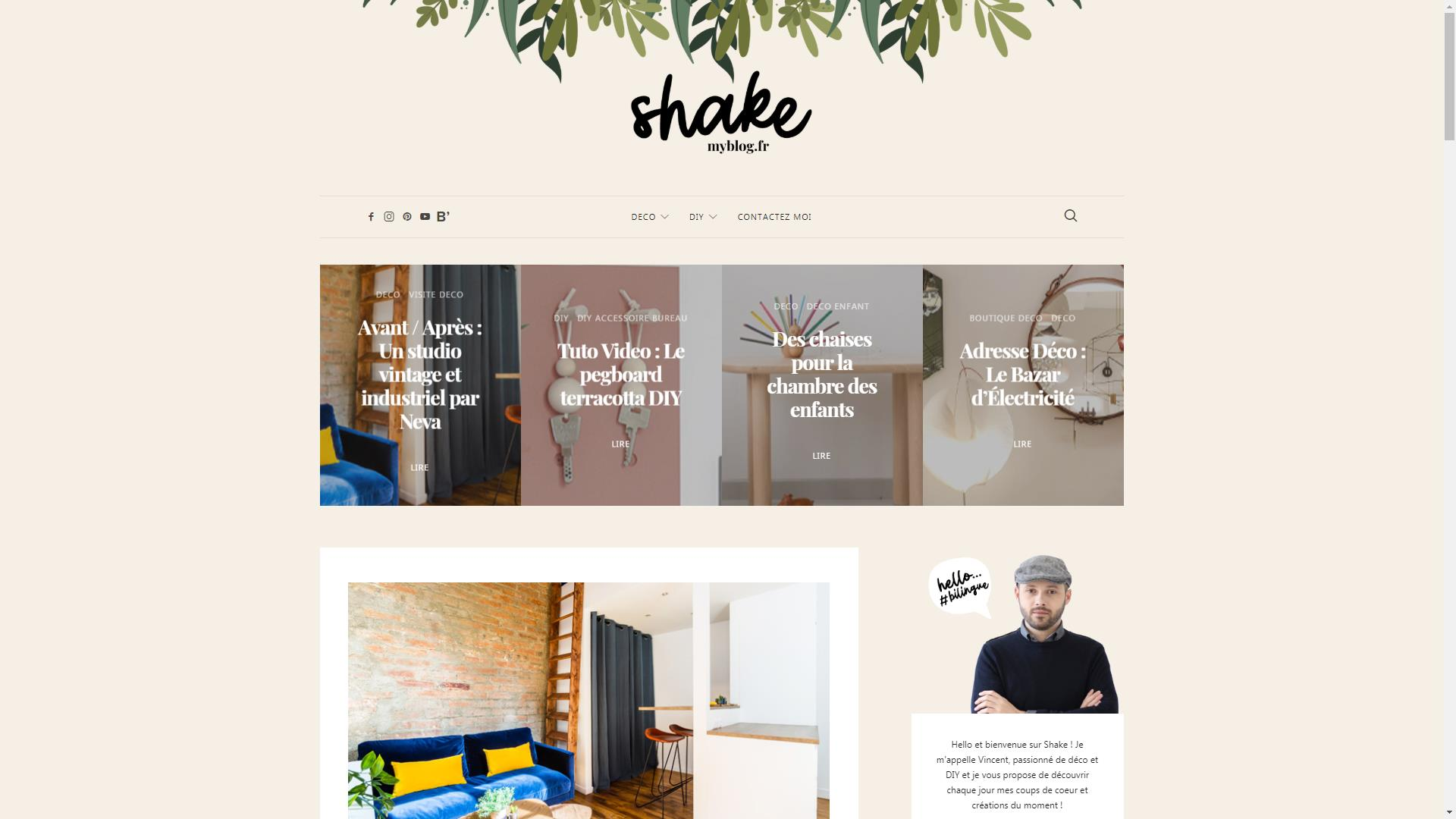 Page d'accueil blog Shake