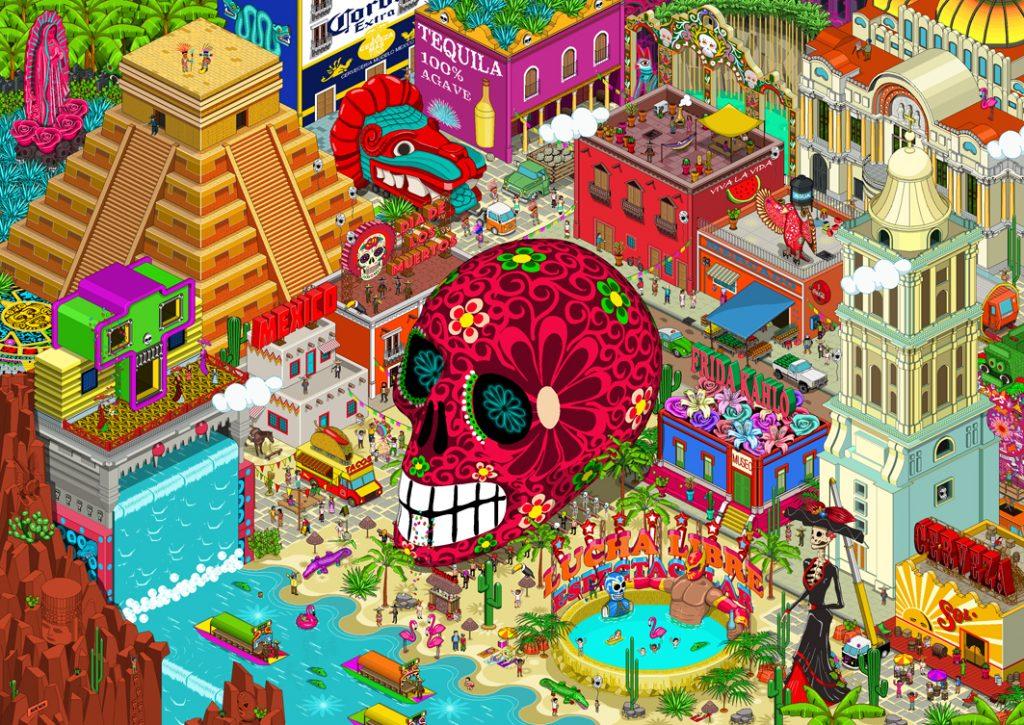 Tableau coloré Mexico pixel art