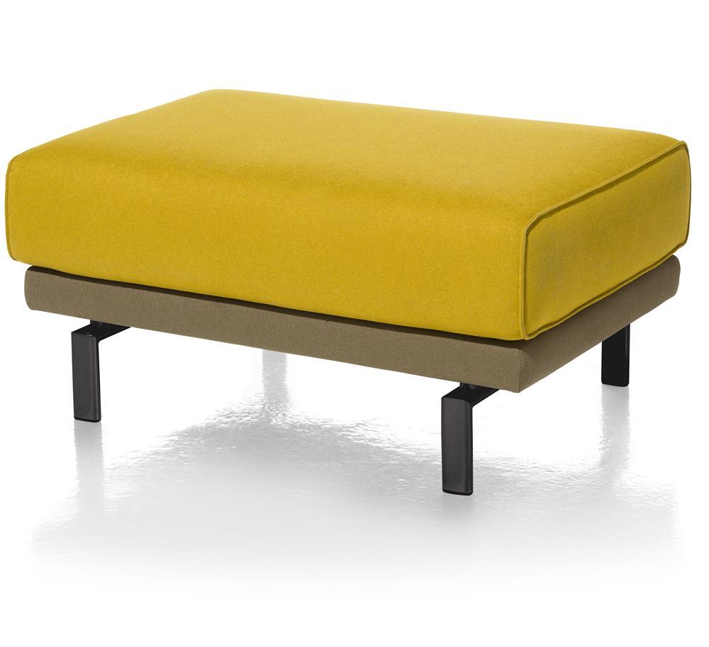 Pouf rectangulaire jaune sur pieds
