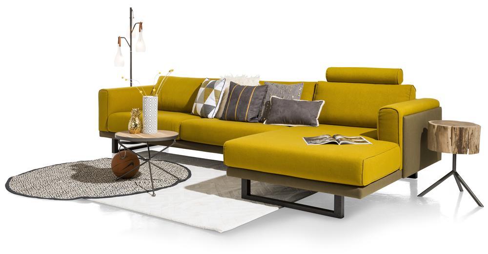 Salon canapé d'angle jaune