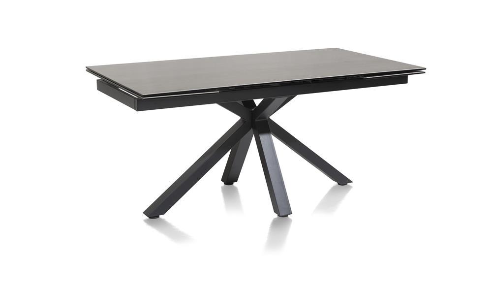 Table plateau céramique anthracite pied design noir
