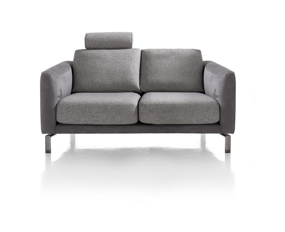 Canapé 2 places gris bi-matière