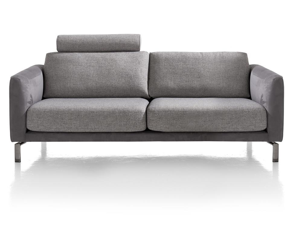 Canapé 3 places gris bi-matière