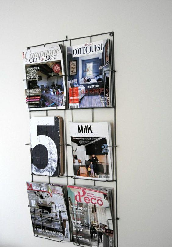 porte-magazines noir mural
