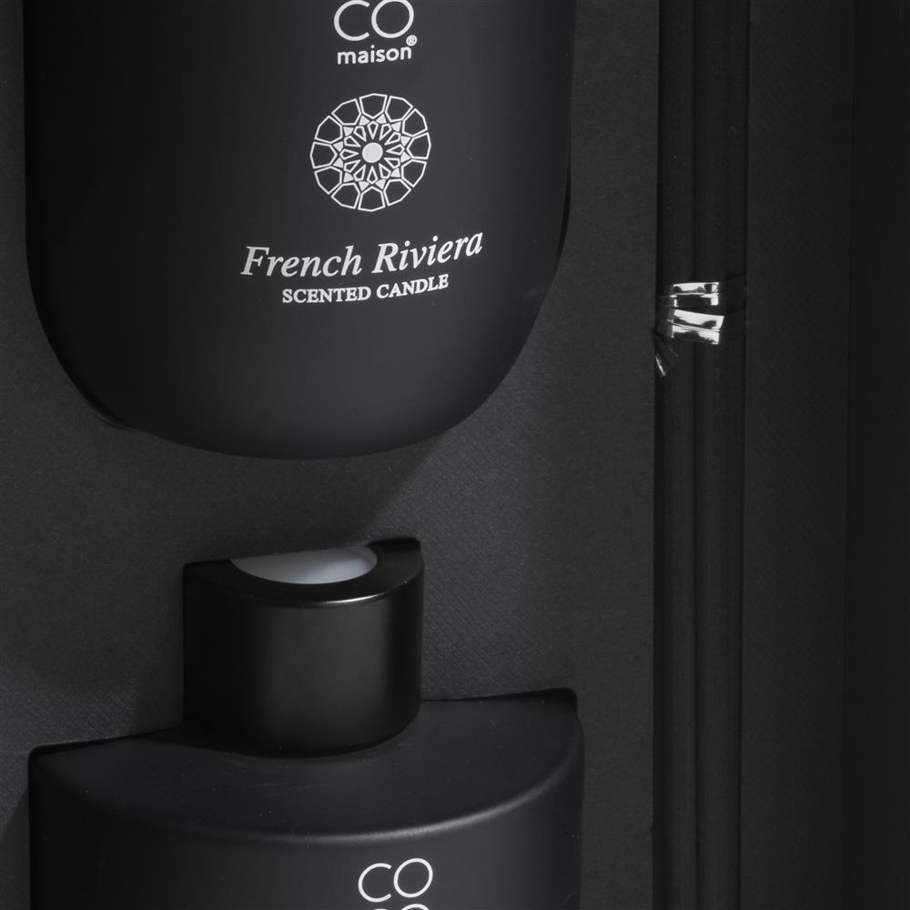 Coffret noir bougie parfum et diffuseur