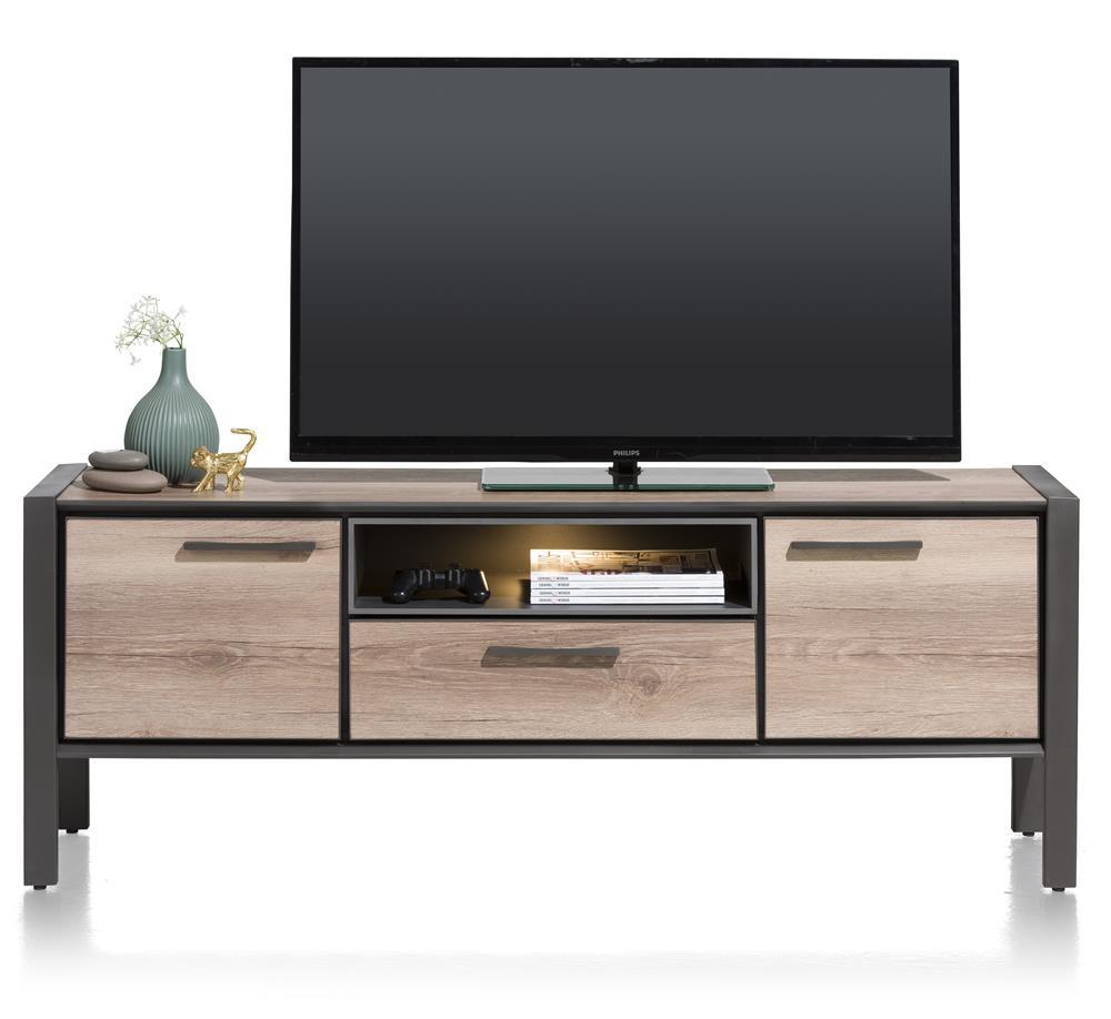 meuble TV moderne effet bois et métal