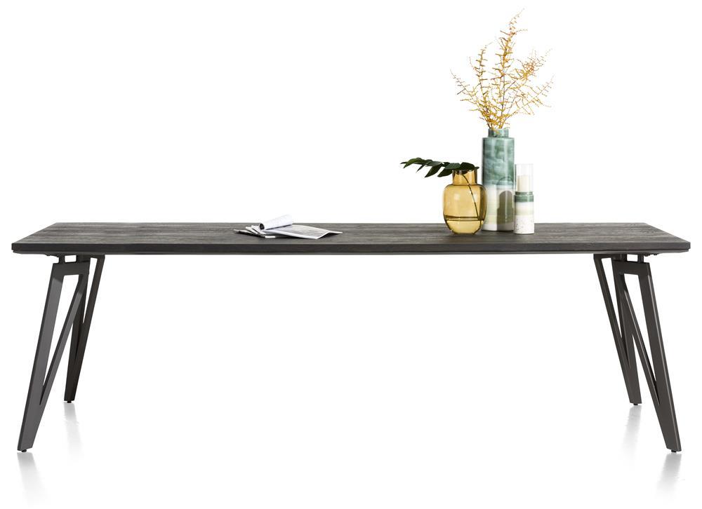 Table grise foncée pieds métalliques