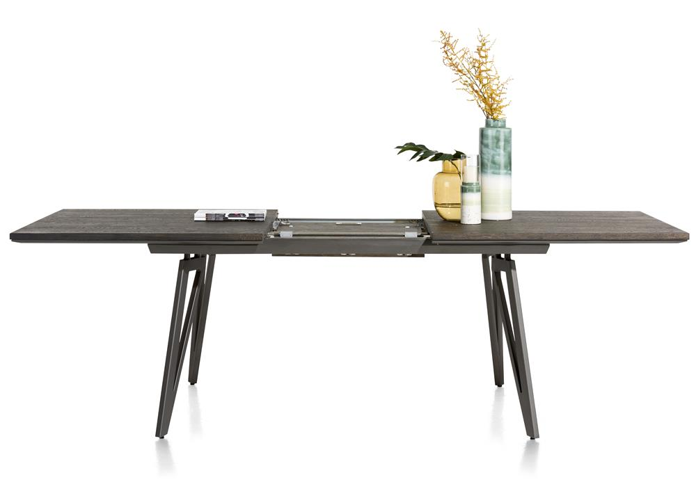 Table grise foncée extensible pieds métalliques
