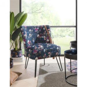 fauteuil bleu marine motifs fleurs