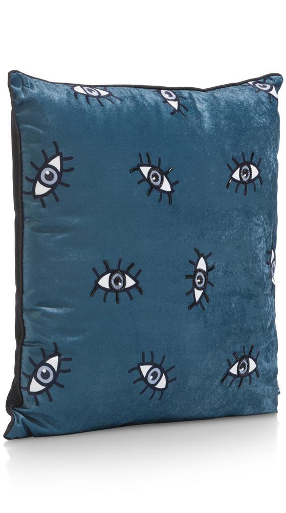 Coussin carré bleu et noir motifs yeux