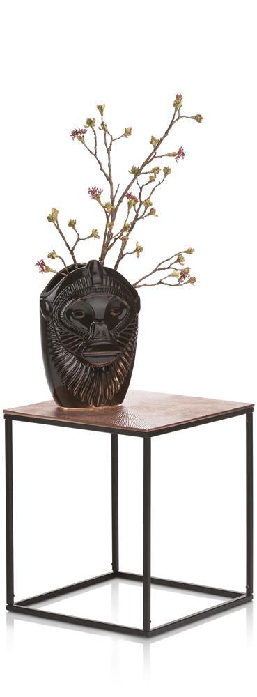 Table d'appoint carrée couleur bronze et noir