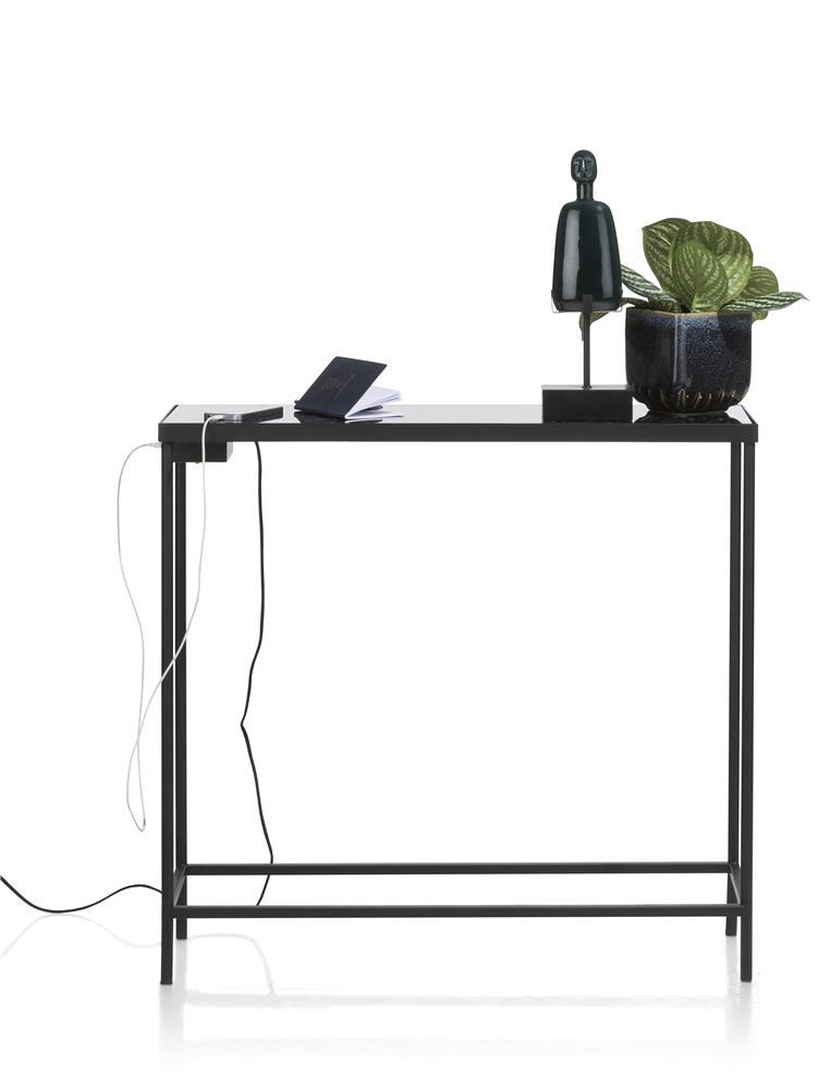 Console métal noir avec ports USB