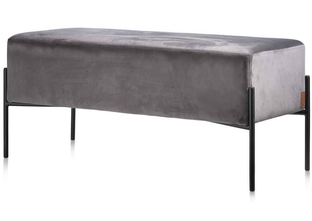 Pouf rectangle velours gris