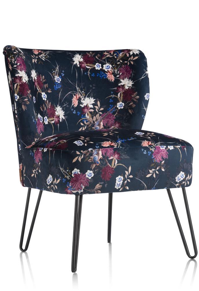 fauteuil tissus bleu nuit aux motifs fleuris