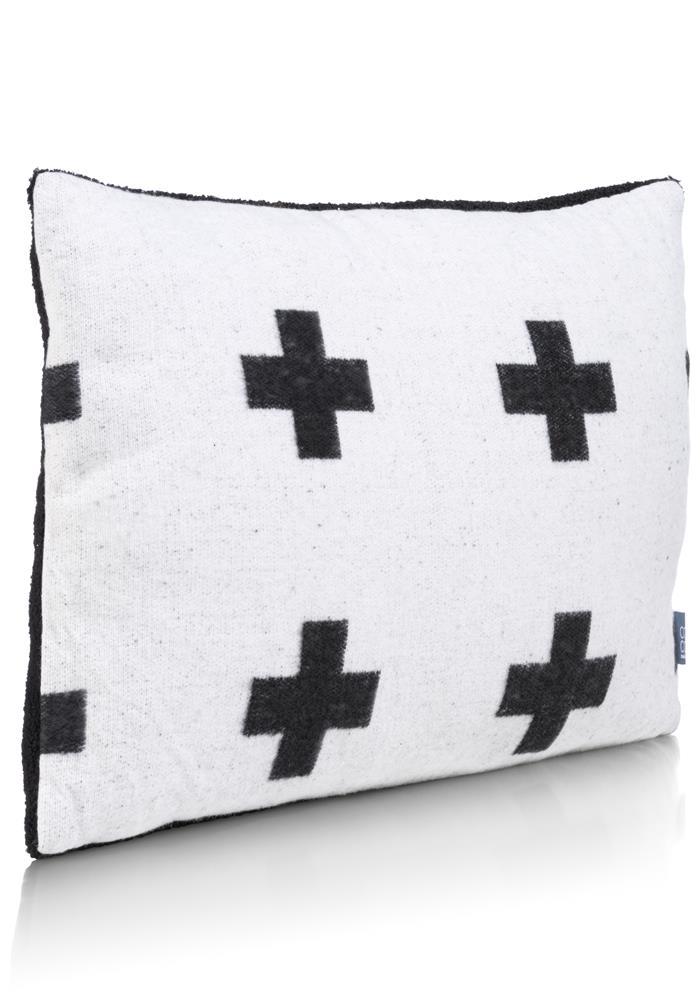 Coussin rectangle bicolore motifs croix