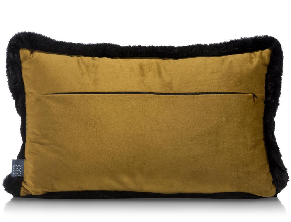 Coussin velours jaune contour noir
