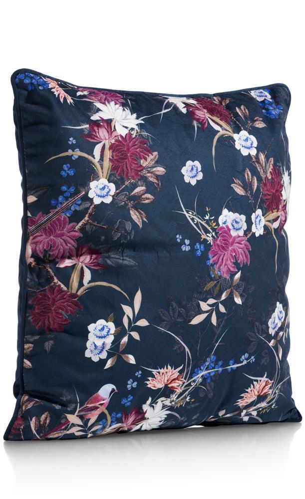 Coussin bleu nuit motifs fleuris