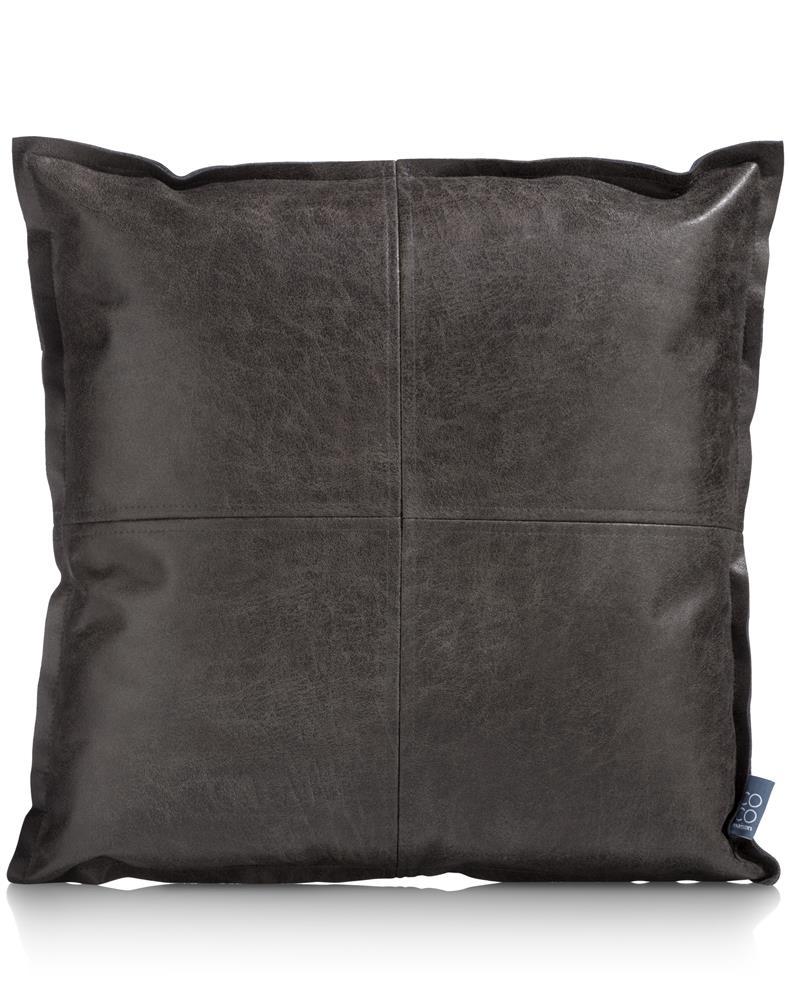 Coussin carré en cuir couleur anthracite