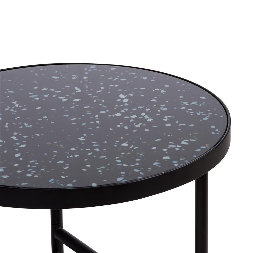 dessus table d'appoint noire en verre et métal