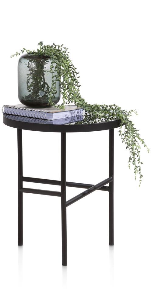 table d'appoint noire en verre et métal