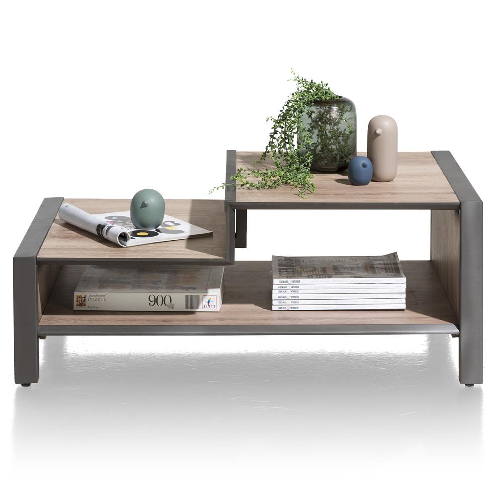 table basse effet bois et métal