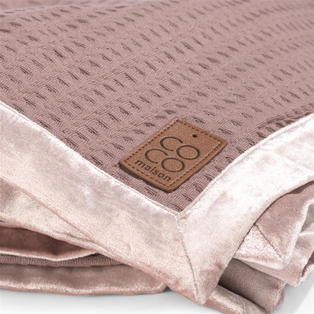 Plaid rose pâle coton et velours