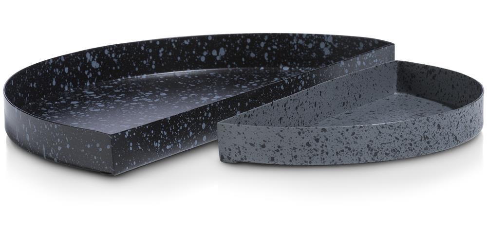 deux plateaux demi-cercle métal noir et gris