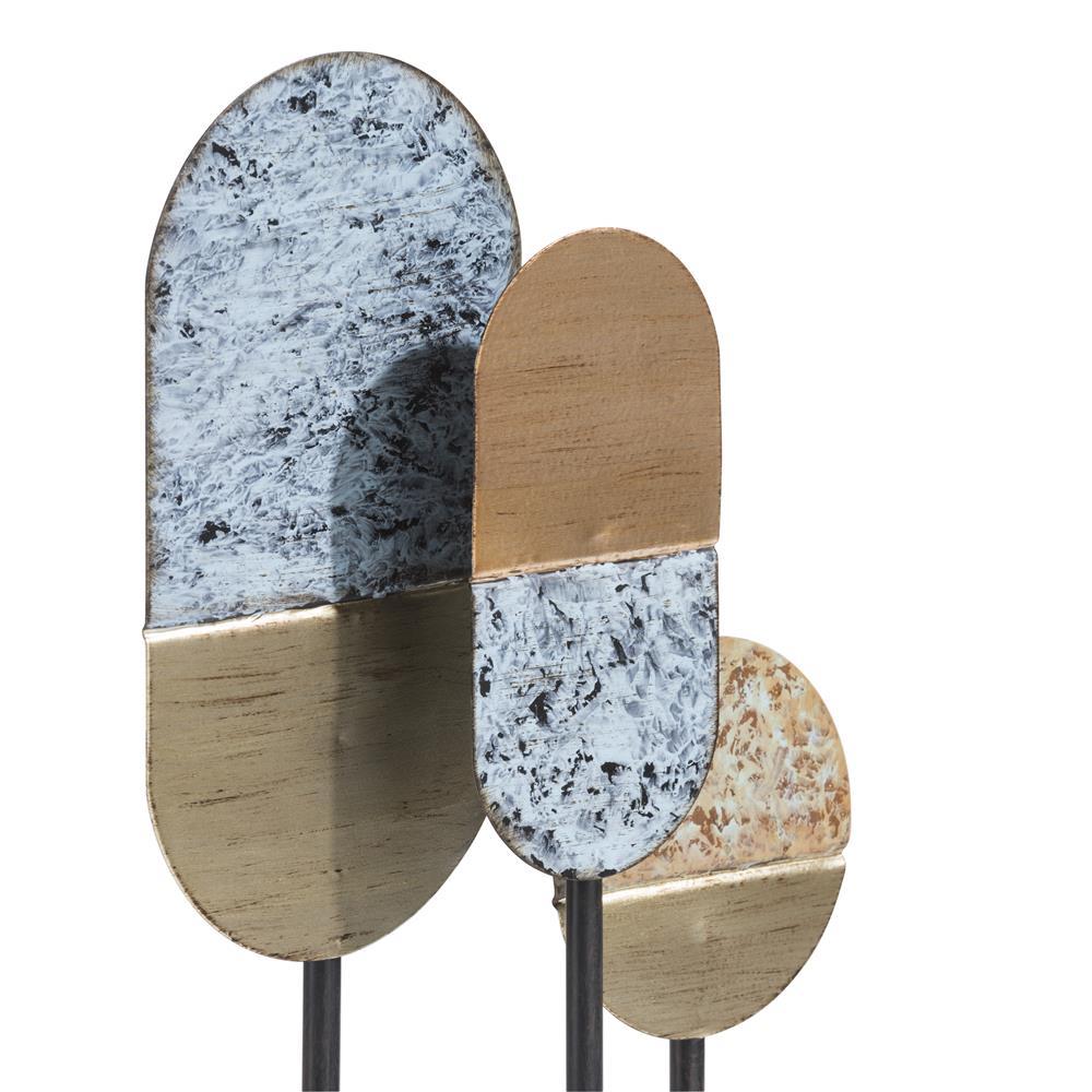 Sculpture abstraite moderne et bicolore en métal