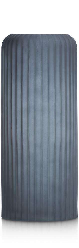 Vase haut en verre givré bleu strié
